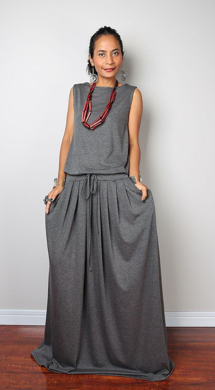 maxi dress gray fabric