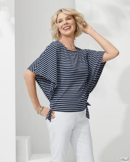 Nautical Stripe Side-Tie Top -- Striped women's top with batwing sleeves and a side-tie hem.