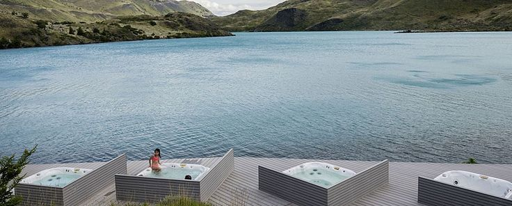 Open air waterfront Jacuzzis at the Explora Patagonia in Chile