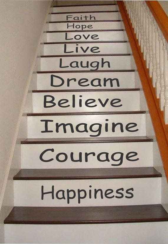 Inspirational Stair Riser Decals Stair Decals Stair Stickers Wall Decals Stair Stickers