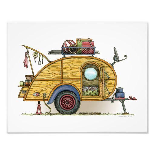 Cute RV Vintage Teardrop Camper Travel Trailer Photograph By