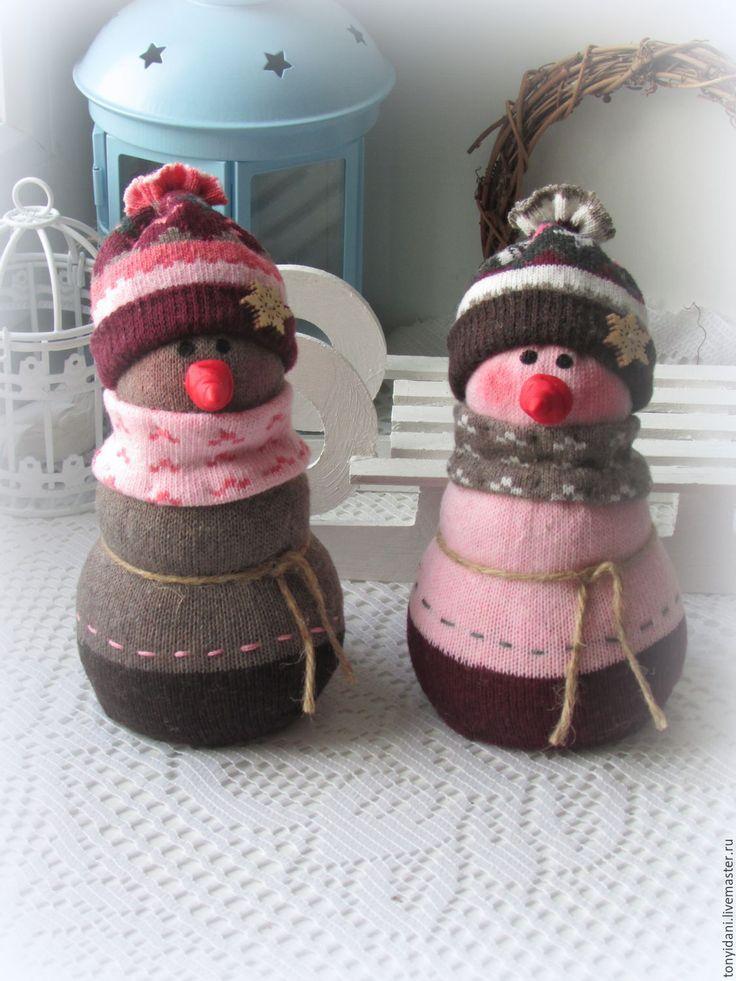 Купить Снеговички Новогодние - снеговик, снеговичок, снеговики, снеговик в подарок, снеговик ручной работы, снеговички