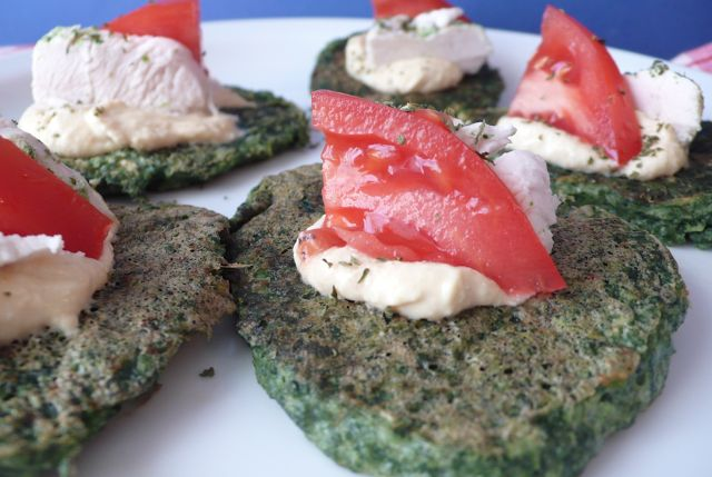 = PROTEIN POW(D)ER !: Spinach Protein Patties (with Chicken, Hummus, and Tomatoes)