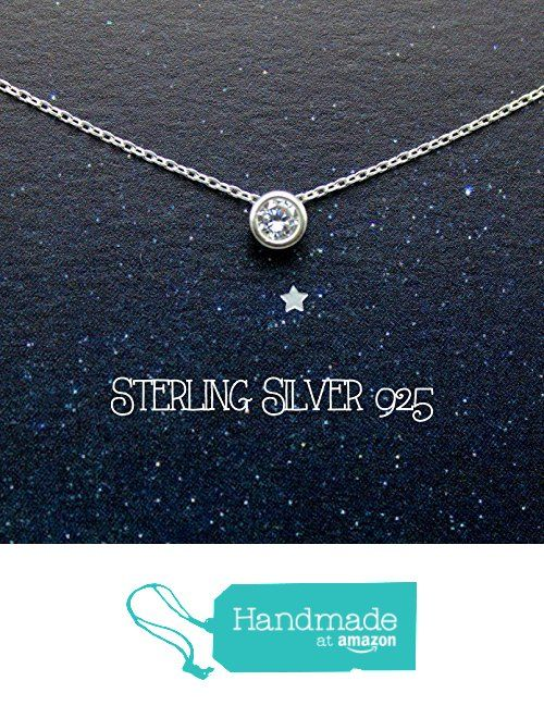 Sterling silver necklace, silver 925 necklace, CZ round bezel necklace, gift for mother, best friends necklace, dainty, tiny, circle silver necklace from DIANPEARL https://www.amazon.com/dp/B06XGVT99B/ref=hnd_sw_r_pi_dp_0CGZybF7NS6R8 #handmadeatamazon