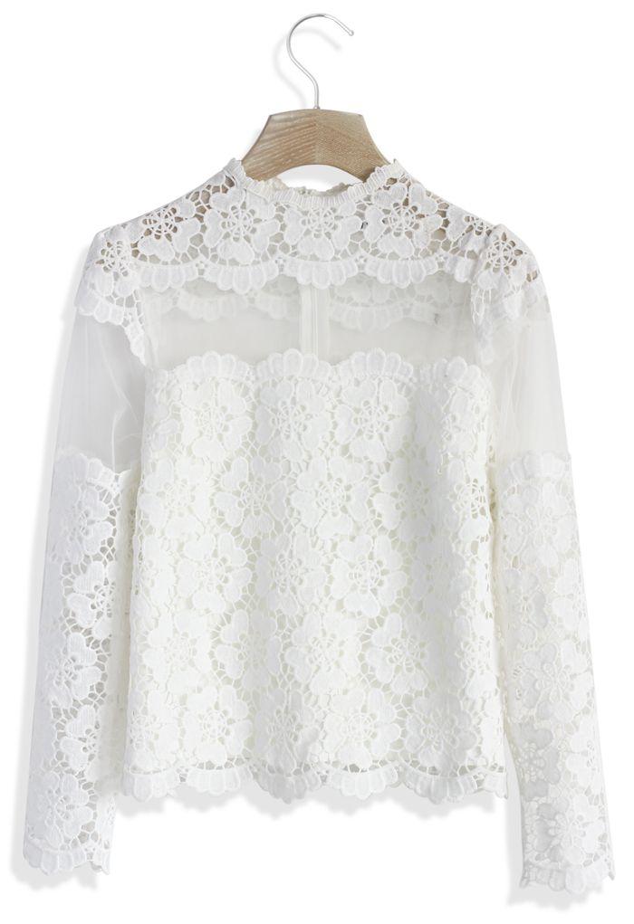 Flower Dance Mesh Crochet White Top