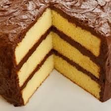 Image result for yellow cake with chocolate frosting