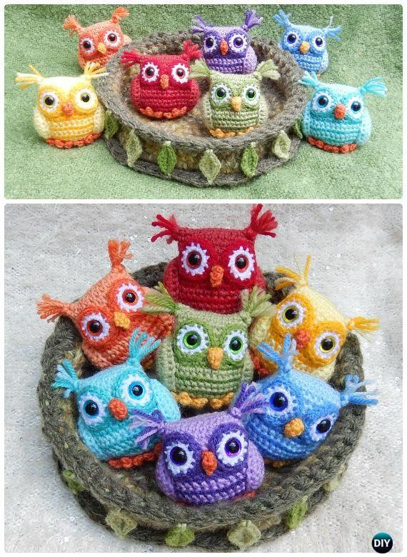 Crochet Nesting Rainbow Owl Free Pattern-Amigurumi #Crochet Owl Free Patterns