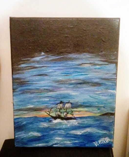 Lonely ship UV painting by SmARTcraftBoutique on Etsy