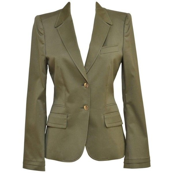 Preowned Gucci Army Green Blazer Jacket Sz 40 Mint (32.140 RUB) ❤ liked on Polyvore featuring outerwear, jackets, blazers, green, olive green blazer, blazer jacket, army green jackets, green military jacket and mint green jacket