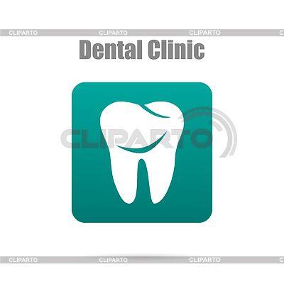 Зуб логотип в зеленом прямоугольнике с тенью | Векторный клипарт | ID 5287046