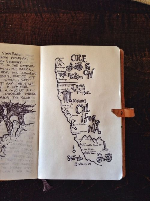 Travel Journal Page with Drawing of Map