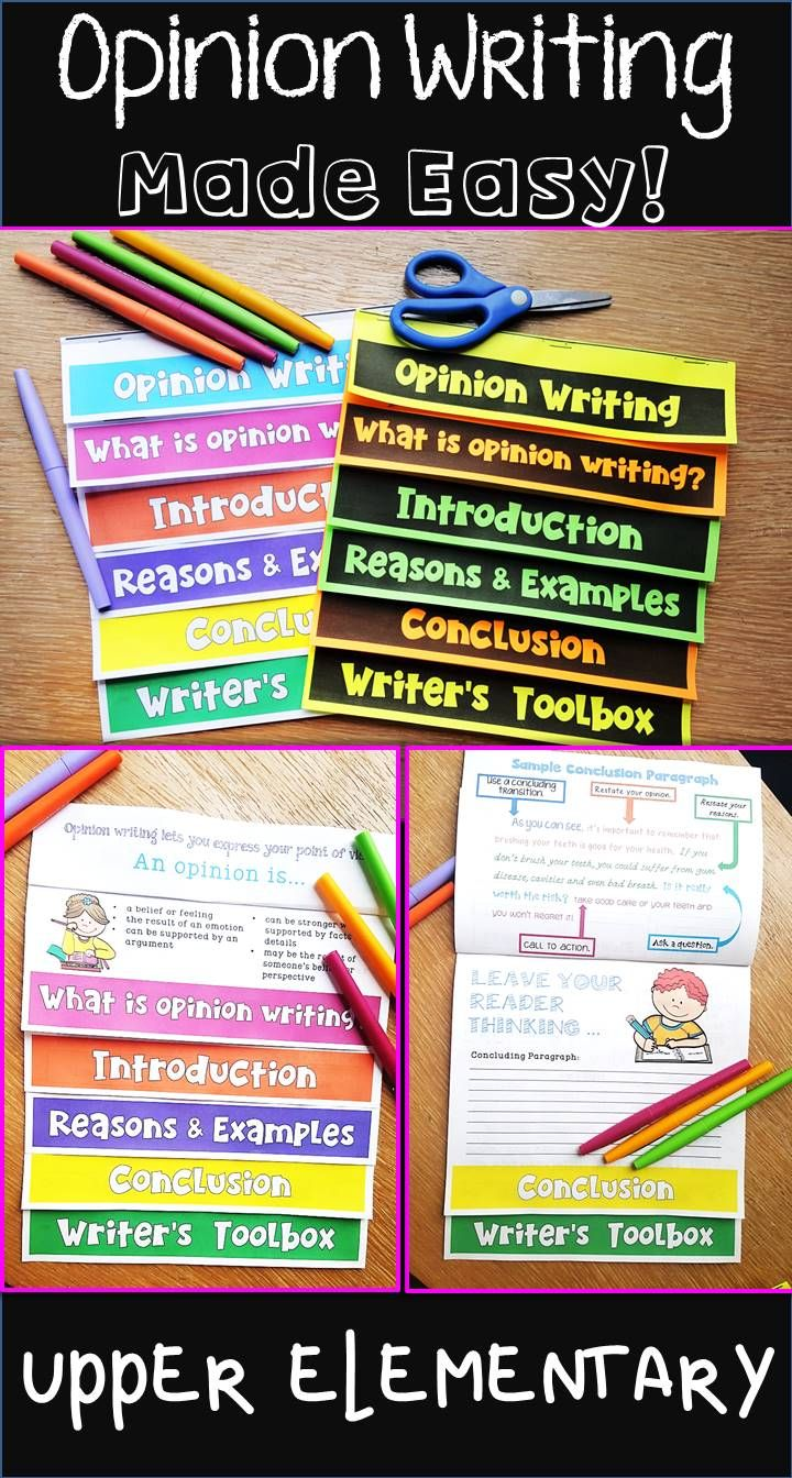 Opinion writing graphic organizer with built in helpful anchor chart information like opinion writing transitions for reasons, examples and details, two ways to start opinion writing and even a sample conclusion paragraph!  Perfect for upper elementary grades- third grade, fourth grade and fifth grade writing!