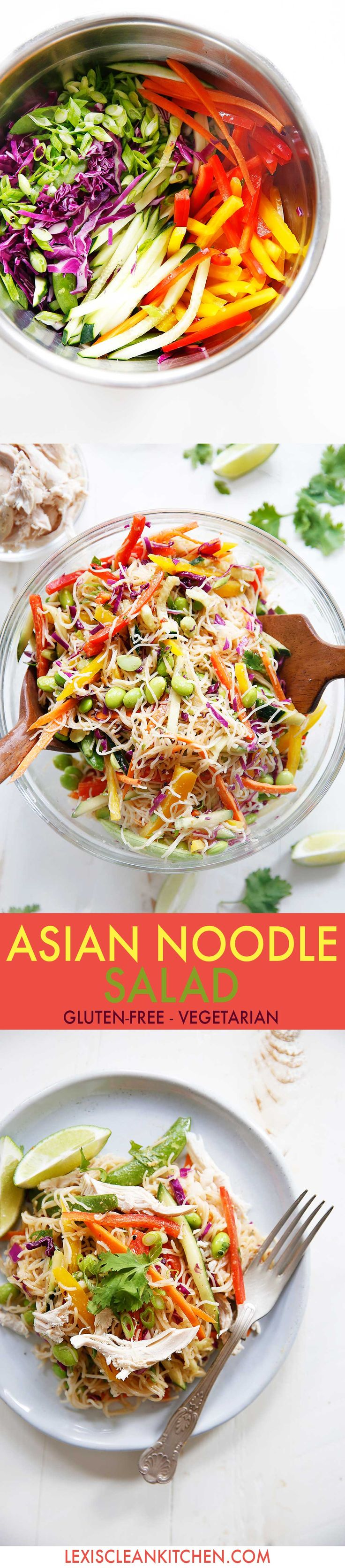 Gluten Free Cold Asian Noodle Salad {Gluten-free, no added sugar, 30 minutes or less, vegetarian option} | Lexi's Clean Kitchen