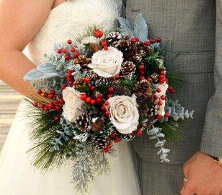 Natural, Burlap, Pine cones, Berries  Stunning Bridal Bouquet