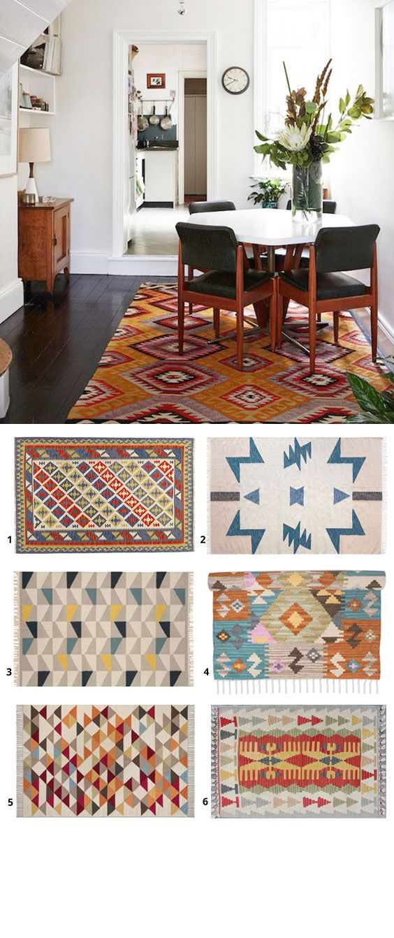 The Kilim rug is an interior staple for many aspiring Scandinavian homes as it adds a pop of colour and texture to a minimalist interior with white walls and natural woods.