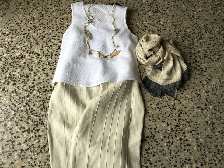 Cotton top, linen pant, Women Weave cotton/silk scarf and Cecil&Gunn necklace.