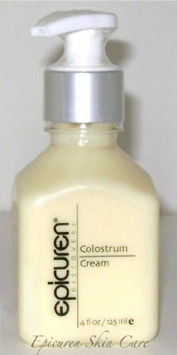 Epicuren Colostrum Cream (4 oz) by Epicuren. Save 9 Off!. $135.00. Most Popular Moisturizer sold. Epicuren Colostrum Cream Nature's finest immune strengthener. Colustrum, helps build strong and healthy skin cells while evening skin tone. Speeds up the growth of skin cells and acts as a super night repair and cell regenerator. Ingredients Colostrum Cream contains pure colostrum serum in a blend of Aloe concentrate, raw finely processed almond, macadamia, kukui, and avocado, whi...