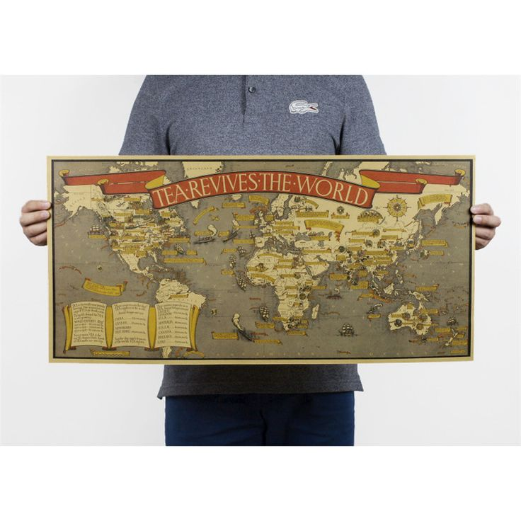 Cheap decoration world map, Buy Quality map vintage directly from China world map vintage Suppliers: Tea Revives The world maps vintage Kraft Paper Poster Wall Chart Sticker Antique wall art decor Map 72x35cm HD031