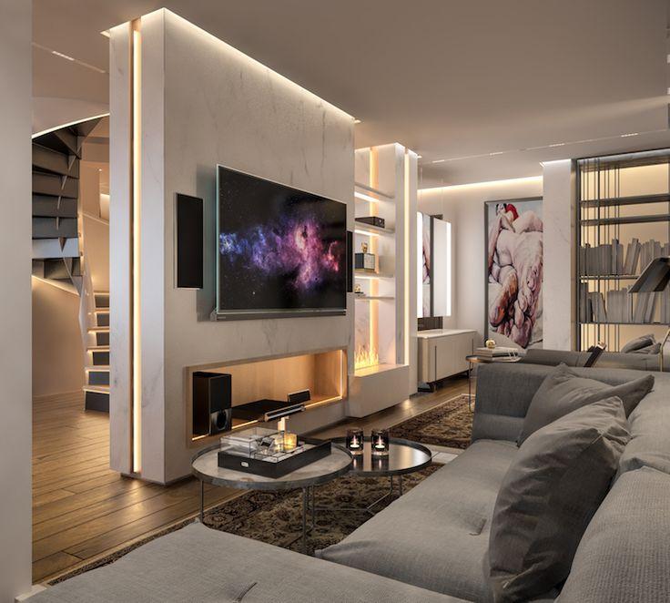parquet chne massif et habillage chemine en marbre blanc dans le salon moderne - Meuble Tv Blanc Modele Lions