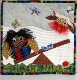 A fun idea for a child's quilt: Jenny_owls on a seesaw 28012014 - an idea from Carols Quilts using templates