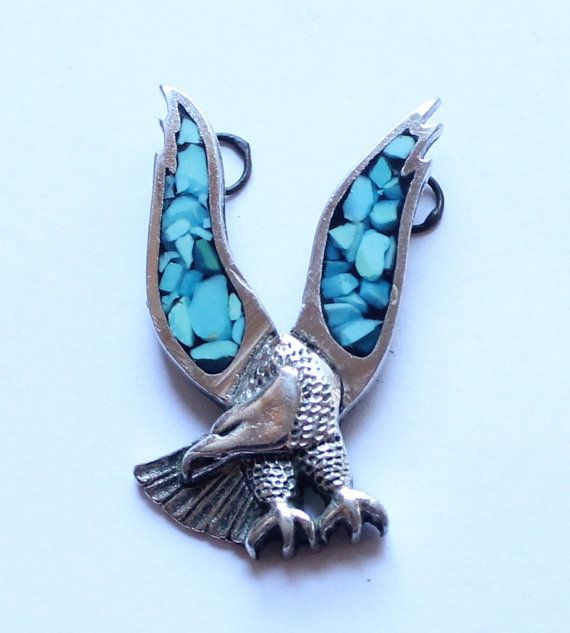 Vintage Silver & Turquoise Eagle Pendant by paststore on Etsy