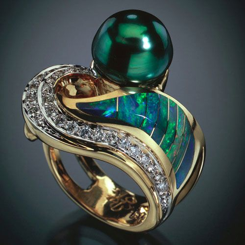 Tahitian Black Pearl/Opal/Diamond Ring by Randy Polk Designs