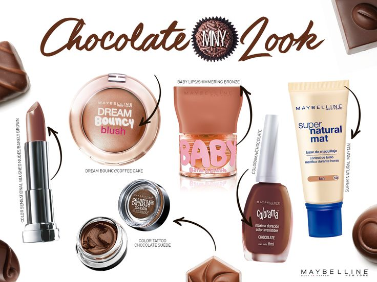 - Color Sensational Blushed Nudes Barely Brown - Dream Bouncy Blush Coffee Cake - Color Tattoo chocolate Suede - Baby Lips Balm & Blush Shimmering Bronze - Colorama Chocolate - Super Natural Mat Tan