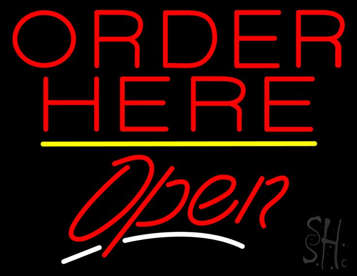 Order Here Open Yellow Line Neon Sign 24 Tall x 31 Wide x 3 Deep, is 100% Handcrafted with Real Glass Tube Neon Sign. !!! Made in USA !!!  Colors on the sign are Yellow, Red and White. Order Here Open Yellow Line Neon Sign is high impact, eye catching, real glass tube neon sign. This characteristic glow can attract customers like nothing else, virtually burning your identity into the minds of potential and future customers.