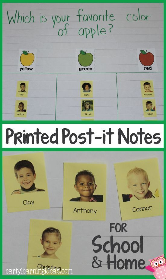 Apple graphing by coloring using the kids pictures on post-it notes.  Print kids pictures and names on post-it notes and use them for class graphs.  A great way to generate more excitement for graphing activities in preschool, pre-k, early childhood education.