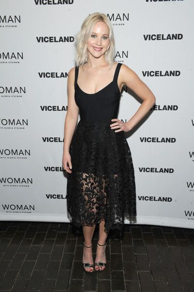 Jennifer Lawrence Evening Sandals - Jennifer Lawrence kept it chic all the way down to her Jimmy Choo buckle-detail sandals.