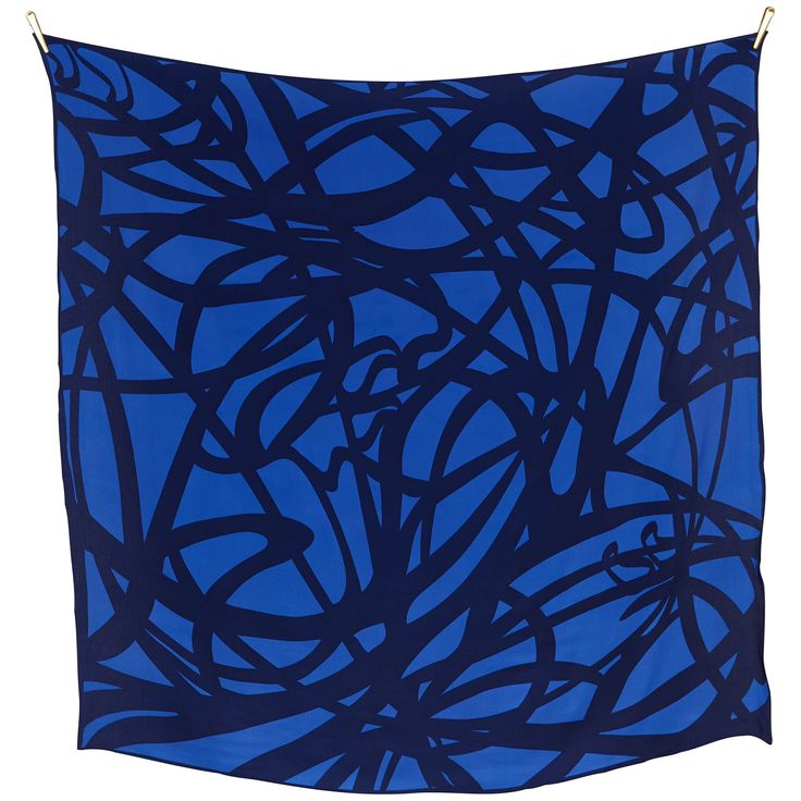 ART NOUVEAU silk scarf | Bright Blue/Navy  size 140x140cm, in 100% Silk Crepe de Chine with rolled hand stitched edges aw16 blue quality
