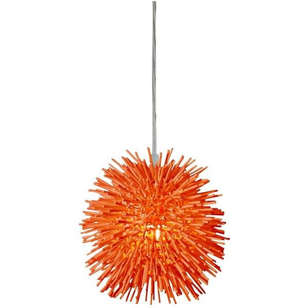 "Varaluz Urchin 6 1/4""W Electric Pumpkin Mini Pendant ($189) ❤ liked on Polyvore featuring home, lighting, ceiling lights, lamps, chandeliers, orange, orange mini lights, modern ceiling lamp, mini lights and mini pendant lighting"