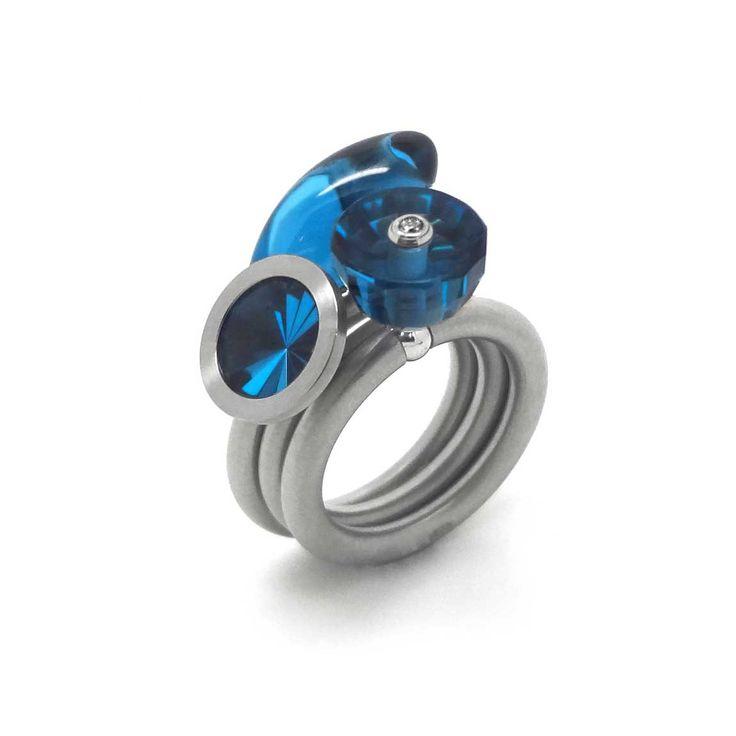 Pur Swivel - Zircon Blue Nr 10 Steel Ring Set