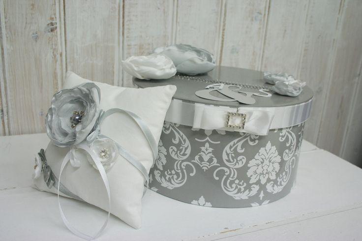 Urne de mariage th me baroque chic en strass en blanc gris - Theme de mariage chic ...