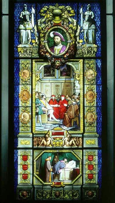 Manufacture de Sèvres. Stained-glass window illustrating the reign of François I After Jean Alaux 1839-47 Sèvres Painted and tinted glass H. 4.67 m; W. 2.05 m. #StainedGlassChurch