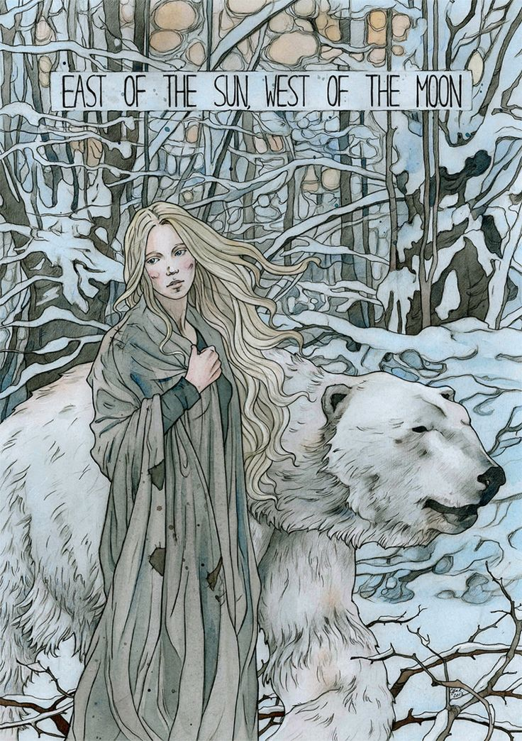 "illustration for ""East of the sun, west of the moon"" (norwegian folk tale)"