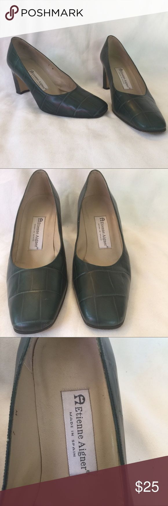 "Etienne Aigner Designer Chunky Heel Leather 7 Gorgeous chunky heels with a cobblestone design in green. Leather heels by the fabulous Etienne Aigner. Gently worn. Size 7 made in Spain 2.5"" heel. Etienne Aigner Shoes Heels"