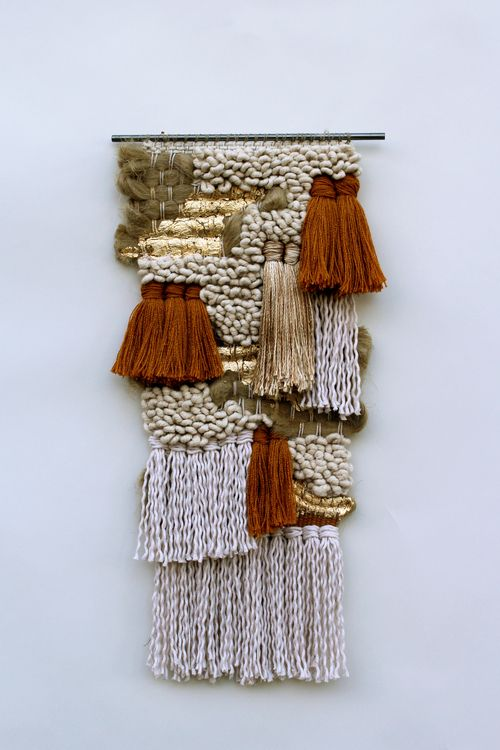 All Roads, Ledges Weaving  Cotton, gold leaf, hemp, jute, rayon, silk and steel. 2013.