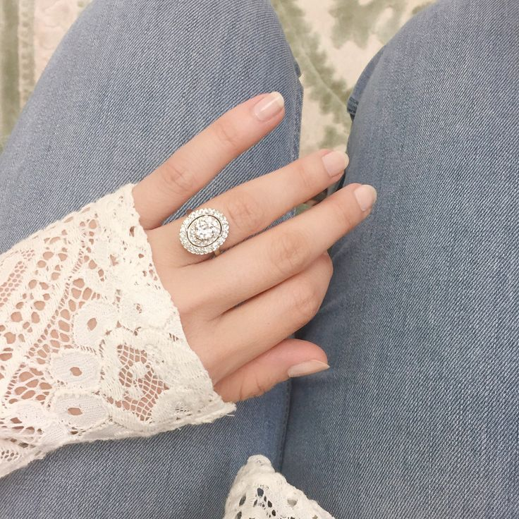 Edwardian Double Halo Diamond Engagement Ring | Lianne - Victor Barbone – Victor Barbone Jewelry
