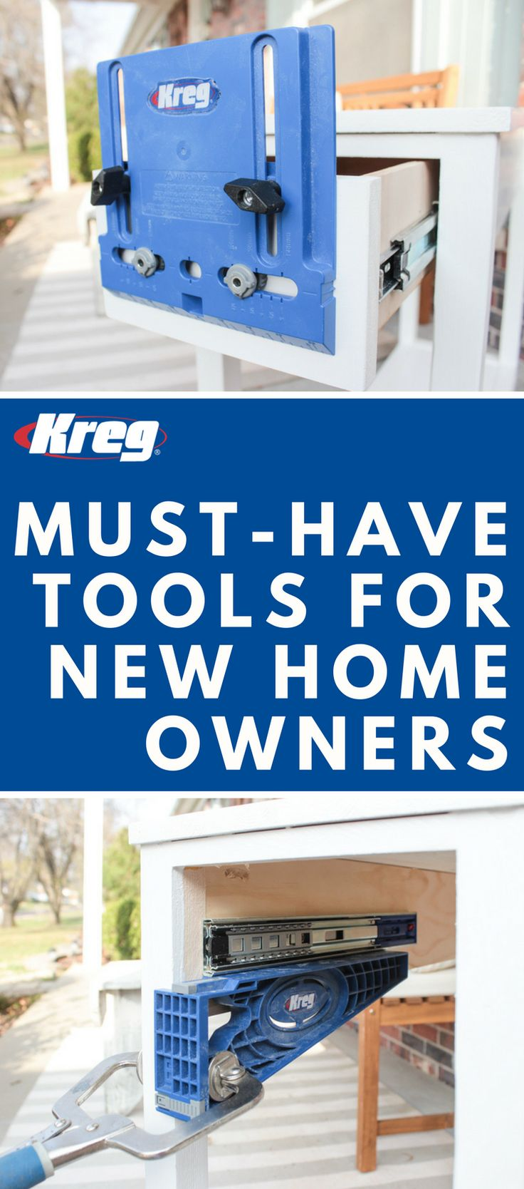 Must-Have Tools for New Homeowners | Kreg Hardware Installation Solutions will help you build the home of your dreams! Confidently install knobs and pulls, concealed door hinges, drawer slides, and adjustable shelves.