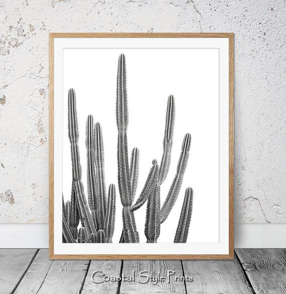 Desert Cactus Print Black and White by CoastalStylePrints on Etsy