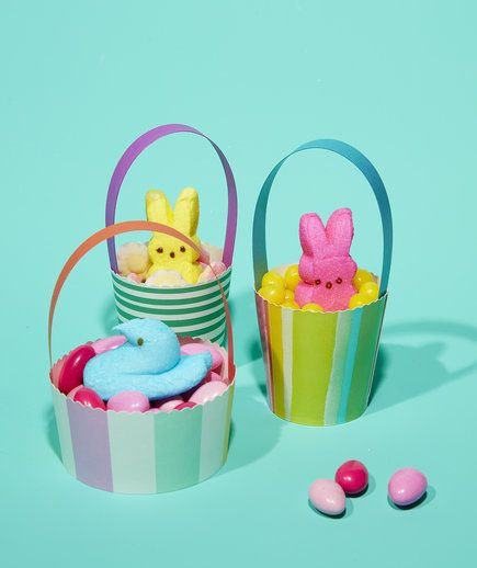 Take Easter baskets for a new level by turning them into edible nests for Peeps candies!