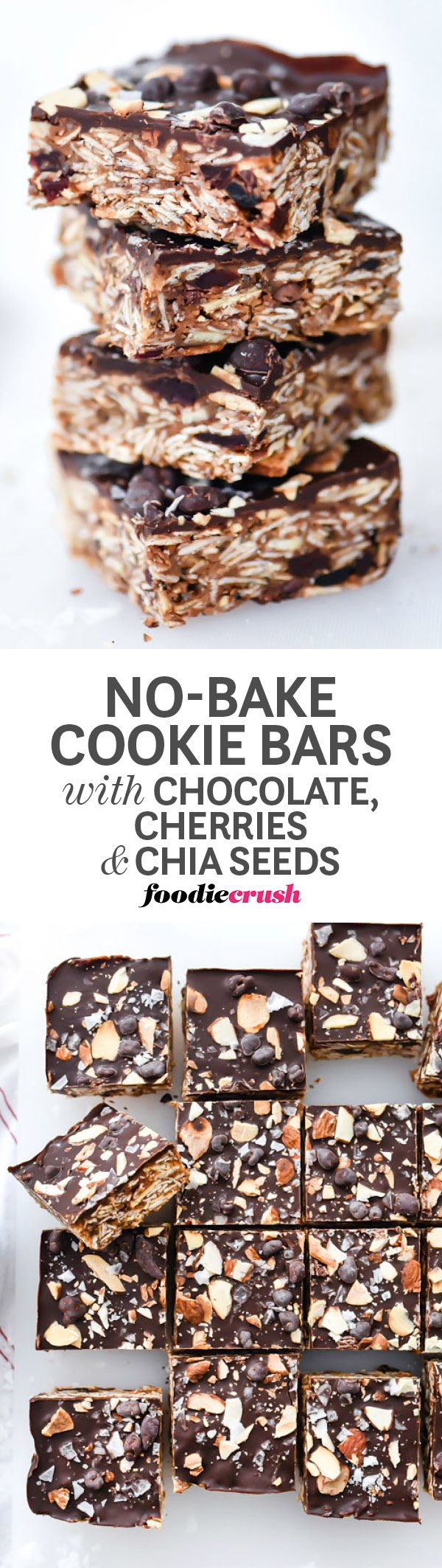 These no-bake bars are packed with healthy ingredients and just the right amount of chocolate decadence to make a treat worthy of breakfast, snack-time or dessert | foodiecrush.com #dessert #healthy #oats #chocolate #nobake