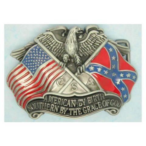 Eagle & Bandeira de batalha confederada Belt Buckle BB136