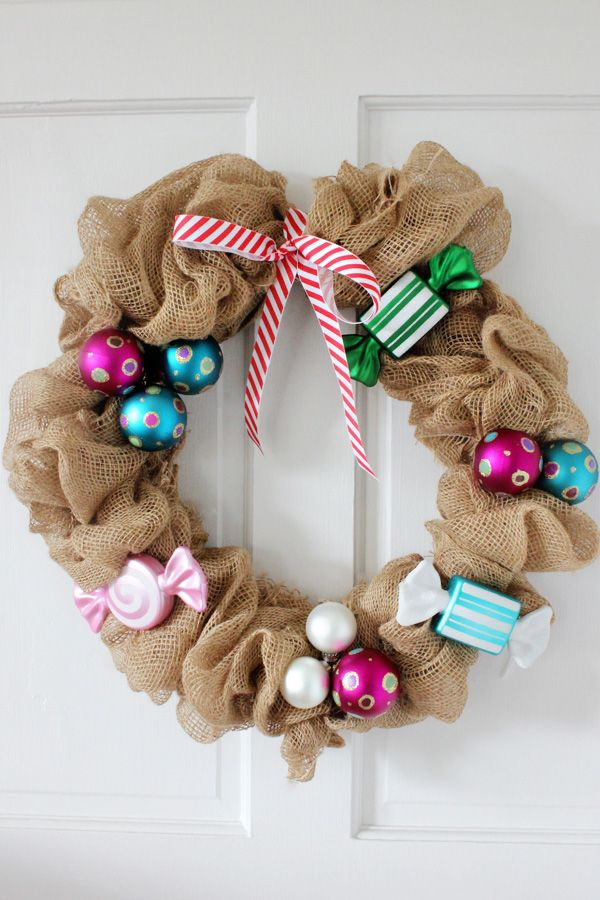 178 best wreaths for any occasion images on pinterest christmas diy burlap wreath for christmas with candy shaped ornaments solutioingenieria Images