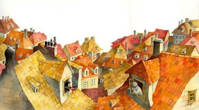 I like seeing cityscapes in watercolor. And this one is unique. children's books Illustrations by Russian artist Olga Ionajtis