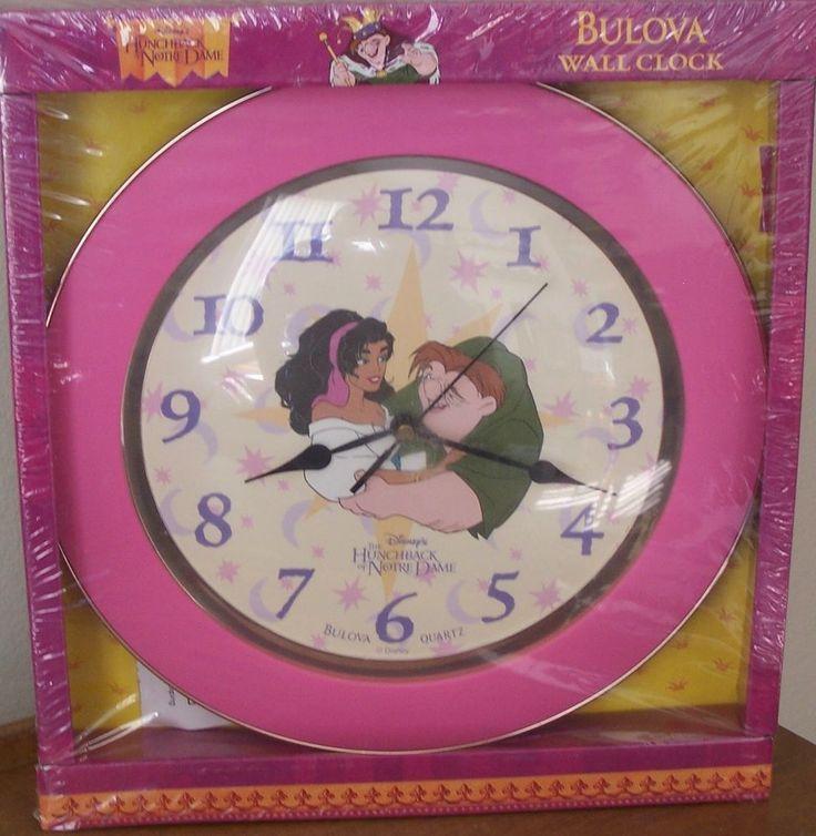 New Disney Hunchback of Notre Dame Wall Clock Bulova Quartz Pink Girl Child NIB