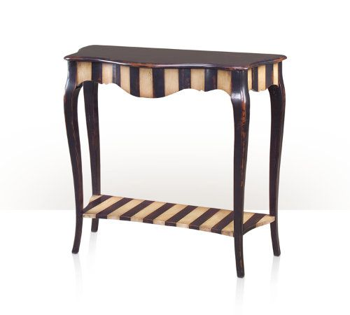 An Antiqued Painted Noir And Ivory Striped Serpentine Console Table, The  Frieze With A Concealed
