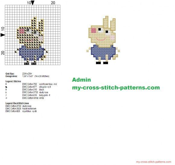 Richard Rabbit Peppa Pig character cross stitch pattern 14x20 (click to view)