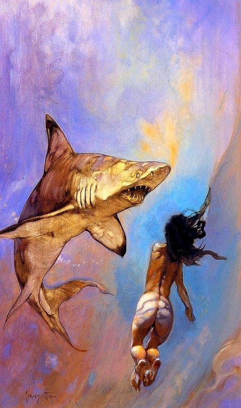 Frank Frazetta - Requiem for Sharks [479 × 810]